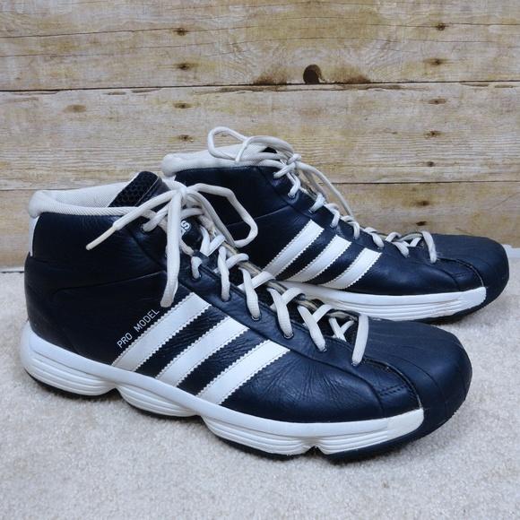 Blue Mens adidas PRO MODEL Basketball Shoes